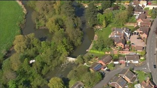 Aerials of the River Avon where father and son died