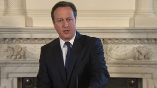 David Cameron makes an announcement at Downing Street after the death of two hostages in Nigeria.