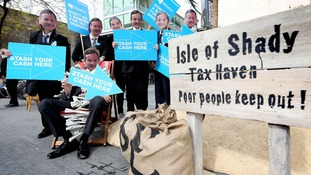 Protestors outside the Southbank Centre where the Barclays AGM took place