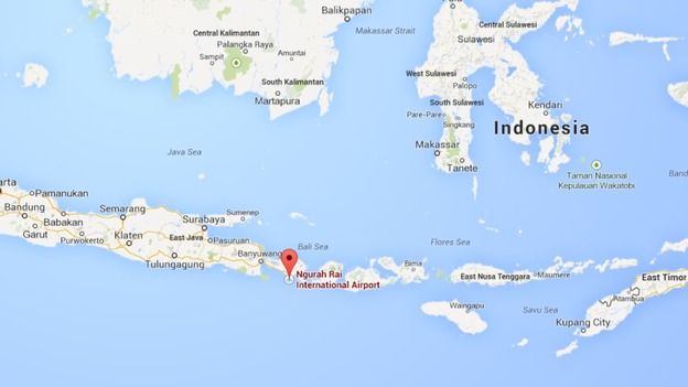 Hijacked virgin plane forced to land at bali airport itv news map showing bali airport in indonesia gumiabroncs Image collections