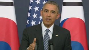US President Barack Obama speaking in the South Korean capital.