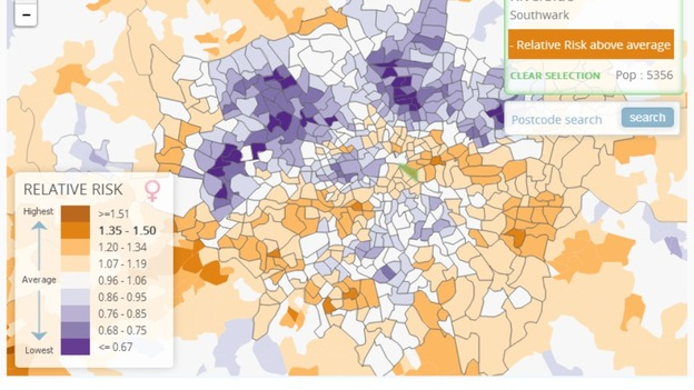 the health map highlights the areas in london which pose the highest risk of lung cancer