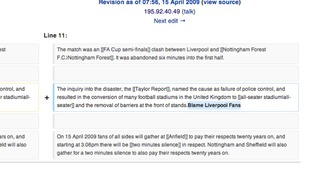 "Screenshot of page showing the addition of ""Blame Liverpool Fans"""