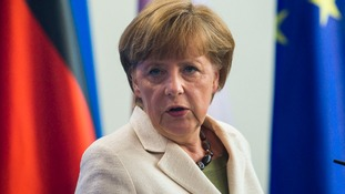 German Chancellor Angela Merkel pictured today in Berlin