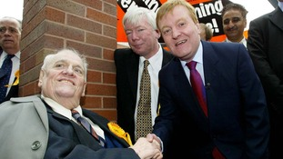 Cyril Smith (left) pictured in 2005 with then Liberal Democrat leader Charles Kennedy