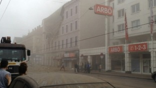 An image of the collapsed building in Vienna