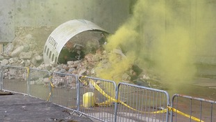 The 'crash site' has been recreated with real smoke and fire