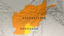 Map of Afghanistan showing Kandahar.
