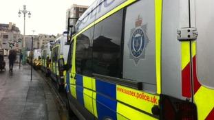 Police vans in Brighton