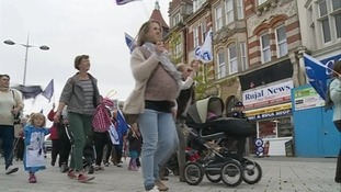 Protestors march over closure of maternity units
