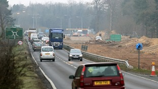 Widening work on the A11