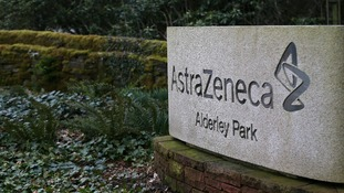 View of the entrance to AstraZeneca's Alderley Park site in Cheshire