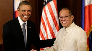 US President Barack Obama meets with Philippine's President Benigno Aquino inside Malacanang presidential palace in Manila today.