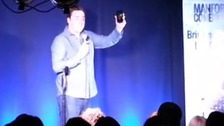 Comedian Jason Manford receives a call from Stephen Sutton during his charity fundraising show