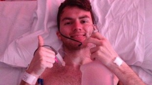 "Stephen's picture of himself giving his ""final thumbs up"" from his hospital bed Credit:"