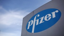 Logo of US drugs giant Pfizer.