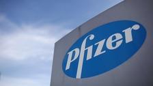 Logo of US drugs giant Pfizer.