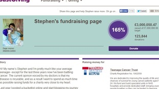 Teenage cancer patient Stephen Sutton has broken the £3m barrier in fundraising for the Teenage Cancer Trust