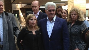 Max Clifford pictured outside court after verdicts were delivered today