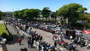 The car park is filling up with motorbikes