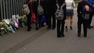 Pupils arriving at Corpus Christi Catholic College in Leeds