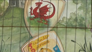 Welsh flag and diamond jubilee emblem painted on shields