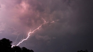 Lighting strikes from a storm in Columbus, Mississippi.
