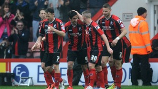Surman celebrates scoring for Bournemouth.