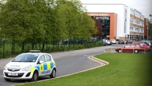 The scene at Corpus Christi Catholic College in Leeds yesterday .