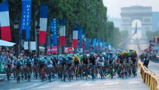 The peloton on the Champs Elysees during the final stage of the Tour de France 2013