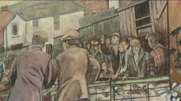 Painting of the Abergavenny cattle market