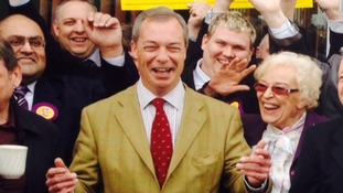 Nigel Farage pictured on a visit to Slough today.