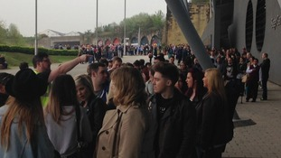 Long queues outside the Sage in Gateshead for X Factor auditions.