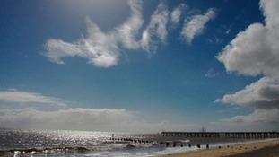 Lowestoft beach in Suffolk.
