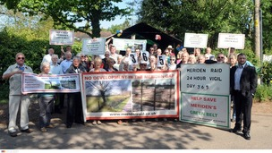 Residents protesting over land occupied by travellers in Meriden