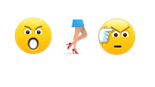 Three emoticons depict an angry face, women's legs and 'fubar'