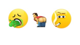 Three emoticons depict vomiting, 'mooning' and smoking.