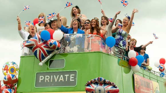 Racegoers on an open top bus at Epsom racecourse will continue to celebrate the Queen's historic 60-year reign today.