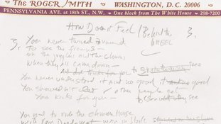 Bob Dylan's working draft was written in pencil on paper from the Roger Smith hotel in Washington.