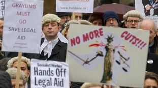 Thousands of barristers and legal professionals in Westminster in March.
