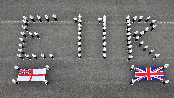 Sailors from HMS Raleigh on the parade ground at Torpoint naval base in Cornwall.