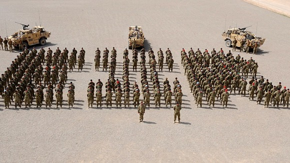 Service personnel in Camp Bastion, Afghanistan.