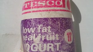 A tesco yoghurt pot from the late 1970s was found on Perran Sands beach, Cornwall.