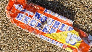 A vintage double decker wrapper was found at the Perran Sands Beach in Cornwall.