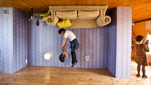 Visitors experienced walking on the ceiling in the upside down house.