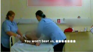The two care home staff were secretly filmed physically and verbally abusing the patient.