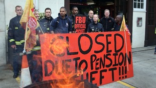 Euston fire station in London where firefighters staged a five hour strike in a row over pensions yesterday.