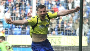 Paul Caddis scores the goal which keeps Birmingham in the Championship