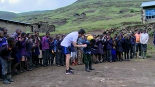 Welshman Nathan Davies completes 208 mile keepie-uppie trek across Lesotho