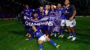 Leicester City celebrating becoming League champions